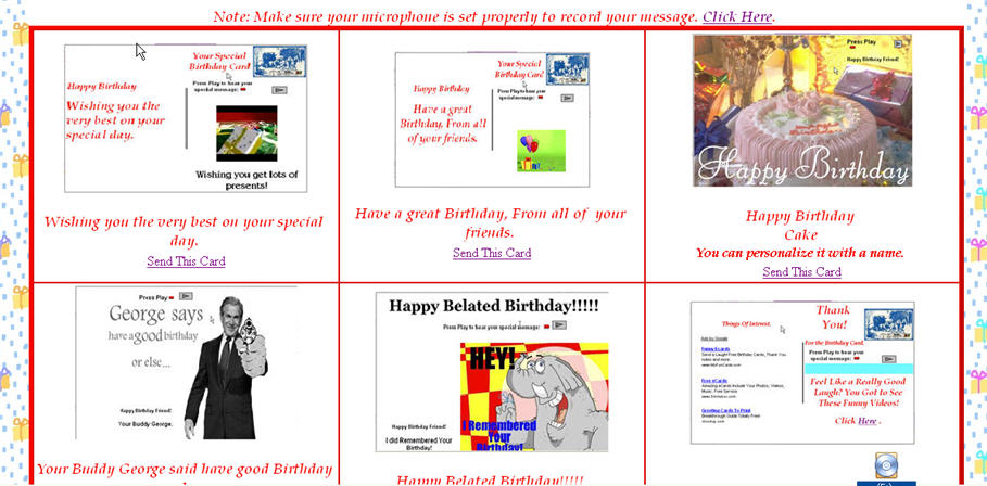 Click to view Birthday eCards with Your Personal Voice 1.0 screenshot
